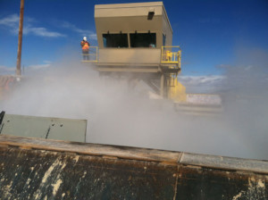 Fog Boiling Out from Dump Pocket During TEst